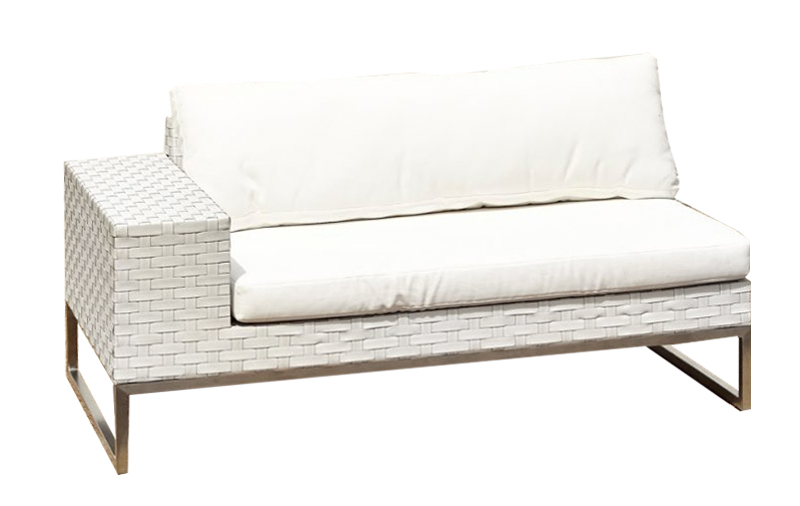 White Wicker 2 Seat Sofa Right Arm Outdoor Party Hire Wa