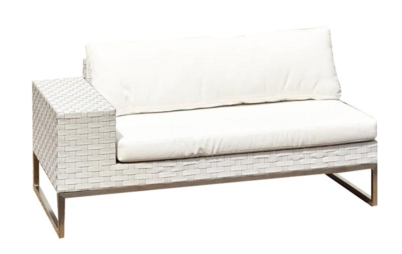 White Wicker 2 Seat Sofa Right Arm Outdoor Party Hire WA