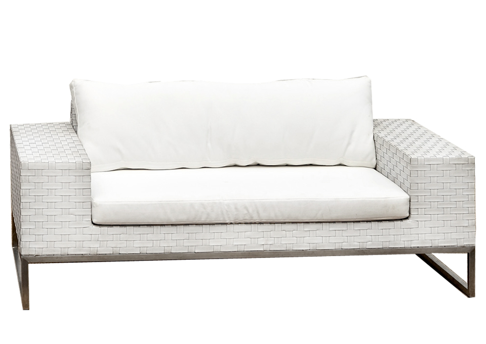 White Wicker 2 Seat Couch Outdoor Furniture Hire Perth