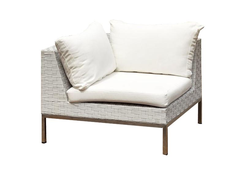 Wicker White Corner No Arm Outside Furniture Hire WA