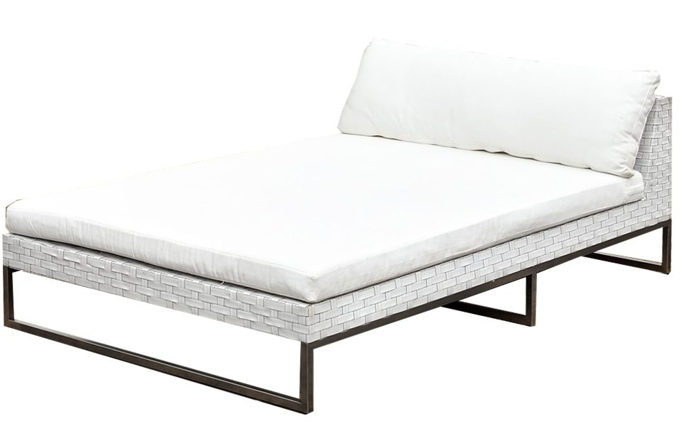 Wicker white furniture outdoor chaise day bed no arms for Outdoor furniture perth