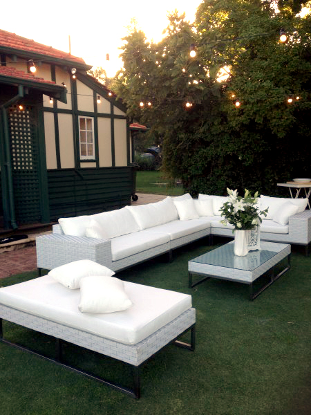 White Wicker 2 Seat Couch Outdoor Furniture Hire | Perth Party Hire