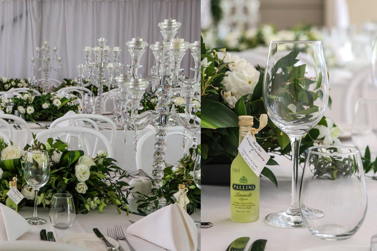 White Wedding Table Setting & Glassware