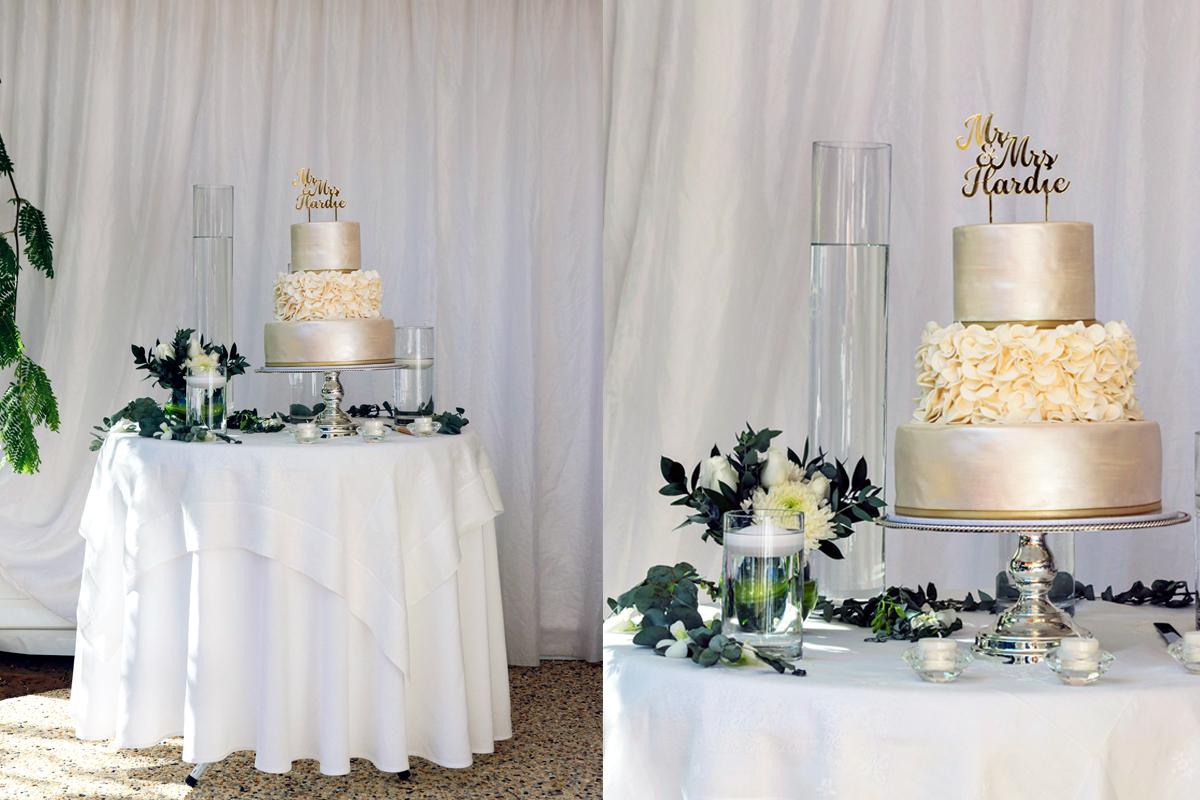 White Wedding Cake Table Setting