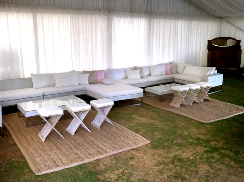 Party marquee with lounge setting