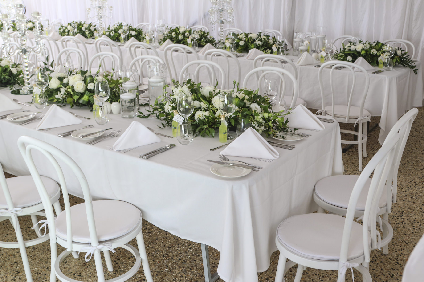White wedding tables and chairs