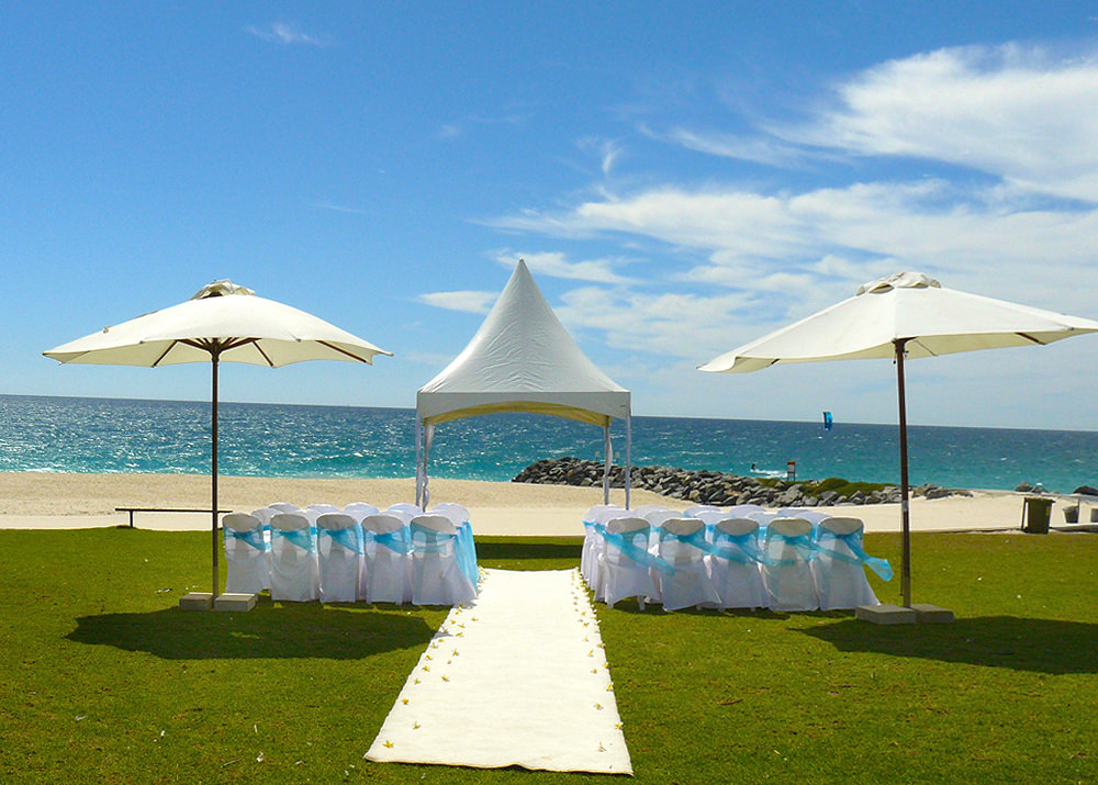 White Covered Chairs, Market Umbrellas and Carpet Hire