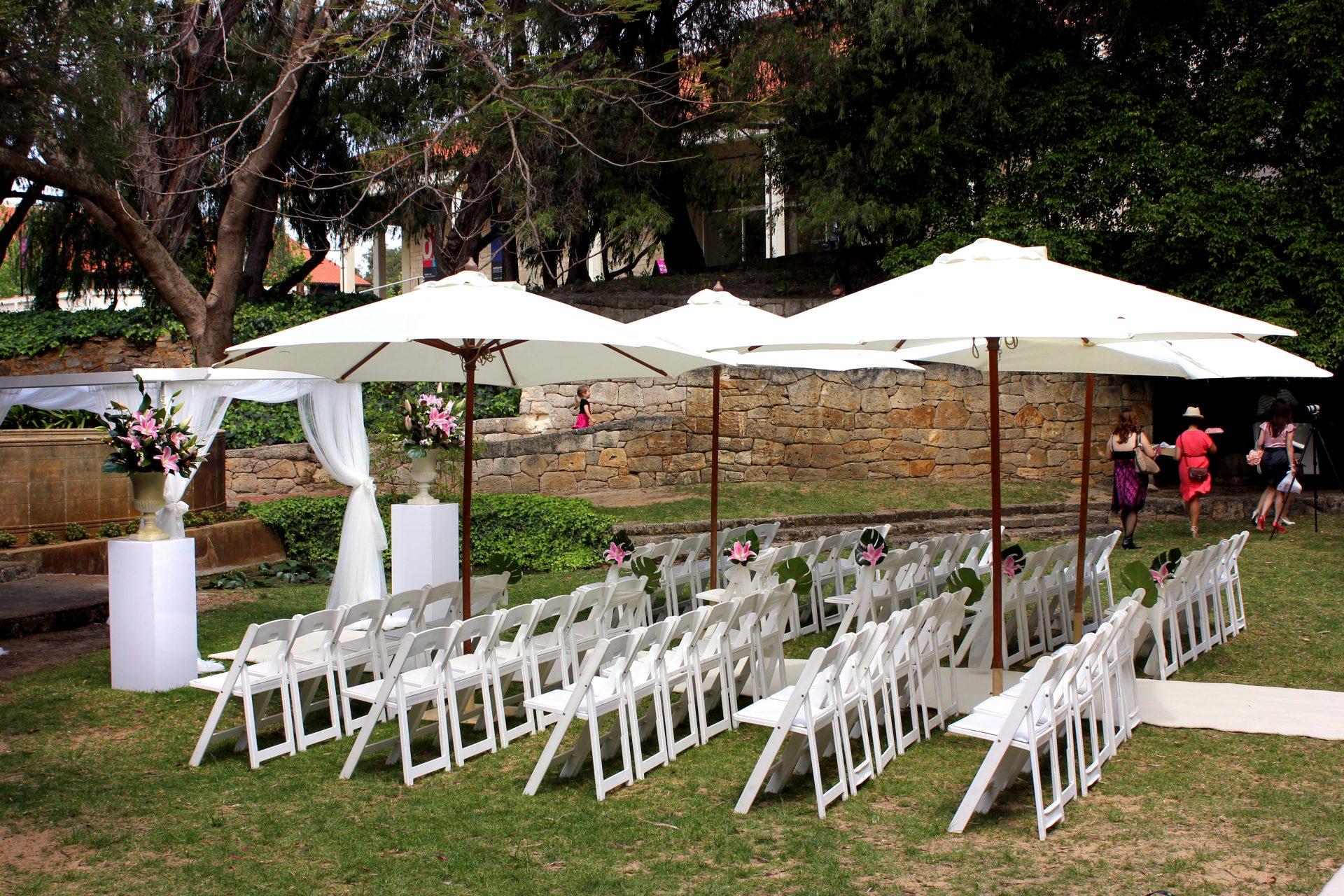 White Wedding Ceremony Set Up