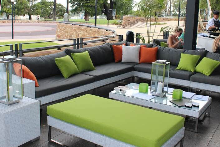 Outdoor wicker lounge hire