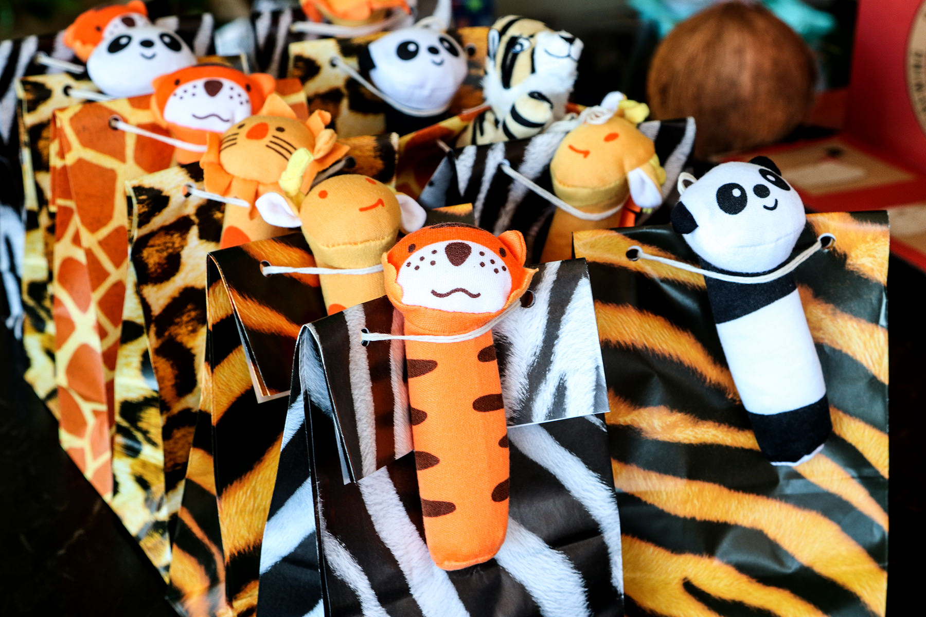 Jungle theme kids party bags