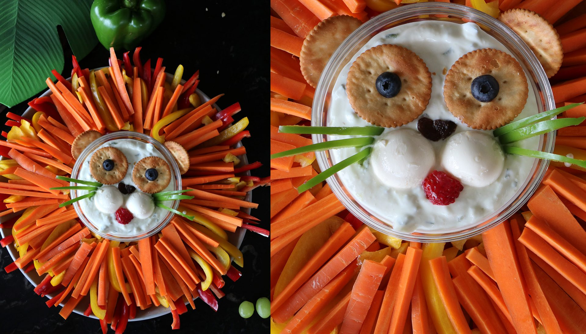 Lion carrot and dip