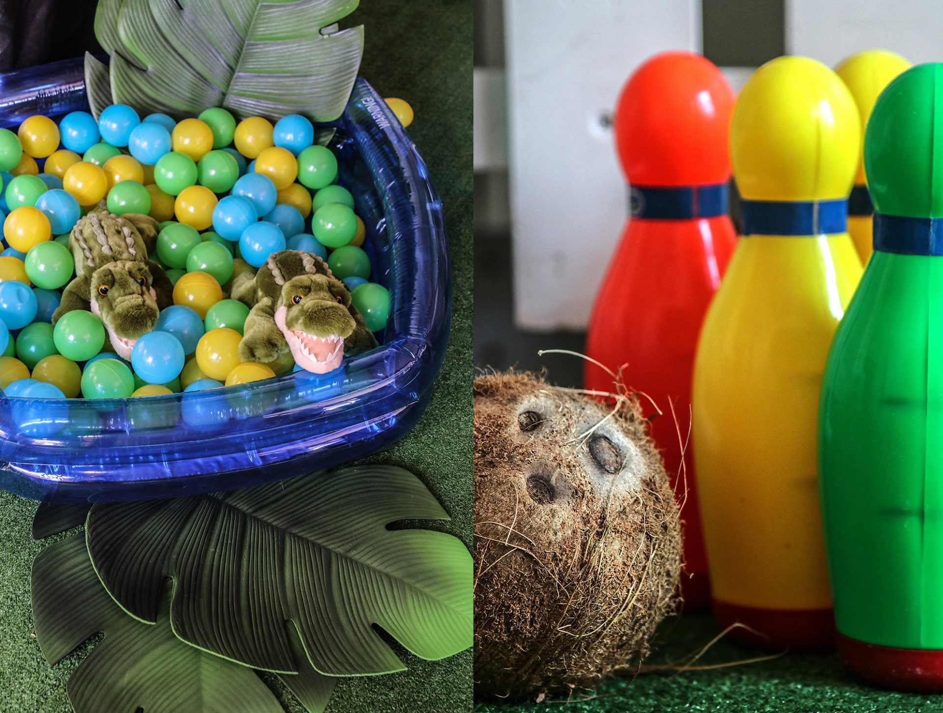 Crocodile ball pit and coconut bowling